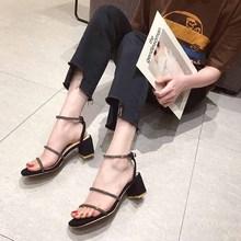 网红凉鞋女2019新款水钻彩钻粗跟高跟女式时?#26032;?#36286;ins爆款女鞋潮