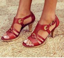 2019年外貿新款時尚高跟皮革拼接時裝涼鞋wish亞馬遜女式涼鞋