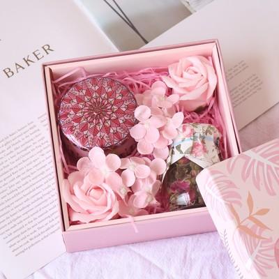 中秋节玫瑰花茶礼盒组合装送长辈创意花茶礼物简约用心