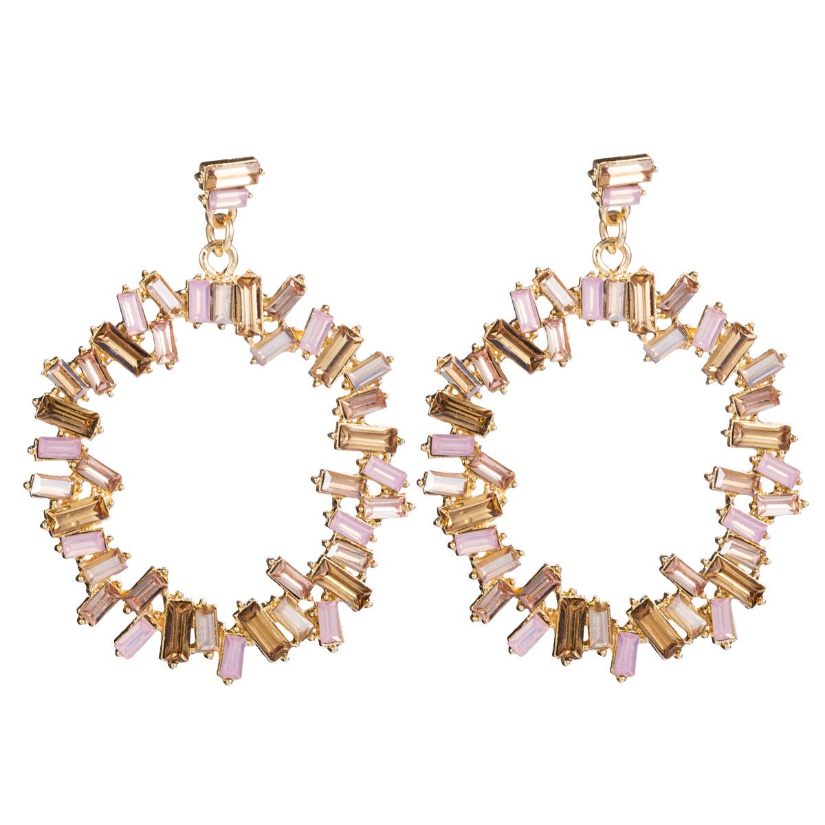 Alloy rhinestone diamond drill square diamond European and American earrings female super flash full diamond earrings NHJE176139