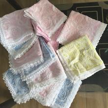出口日本双层纱布蕾丝手帕婴儿baby口水巾纯棉全棉素女擦手巾