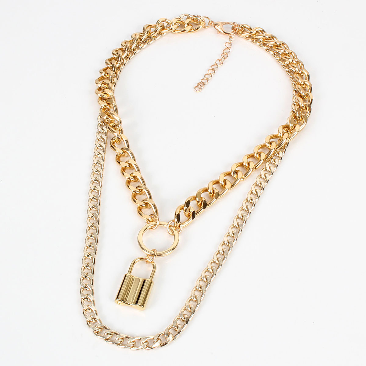Simple chain necklace female summer beach lock multi-layer alloy necklace creative NHCT175213