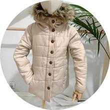 外貿原單日單IKKA男女童呢子夾棉外套 中大童連帽小襖 中款外套