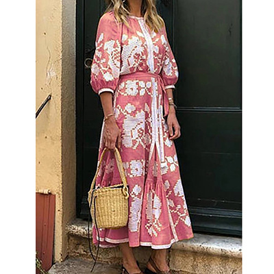 2020 autumn new European and American foreign trade women's independent station middle sleeve round neck printing loose dress new long skirt