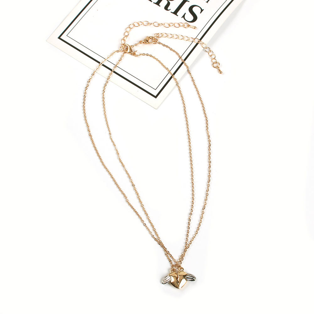 Womens geometric plating Heart shaped angel wings  alloy Necklaces NHMD120740