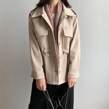 橘芷2019秋冬新款宽松纯色毛呢外套女短款小个子西装毛呢子大衣