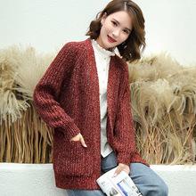 韩版2019秋冬女式新款粗针口袋针织开衫时?#34892;?#38386;V领加厚毛织外套