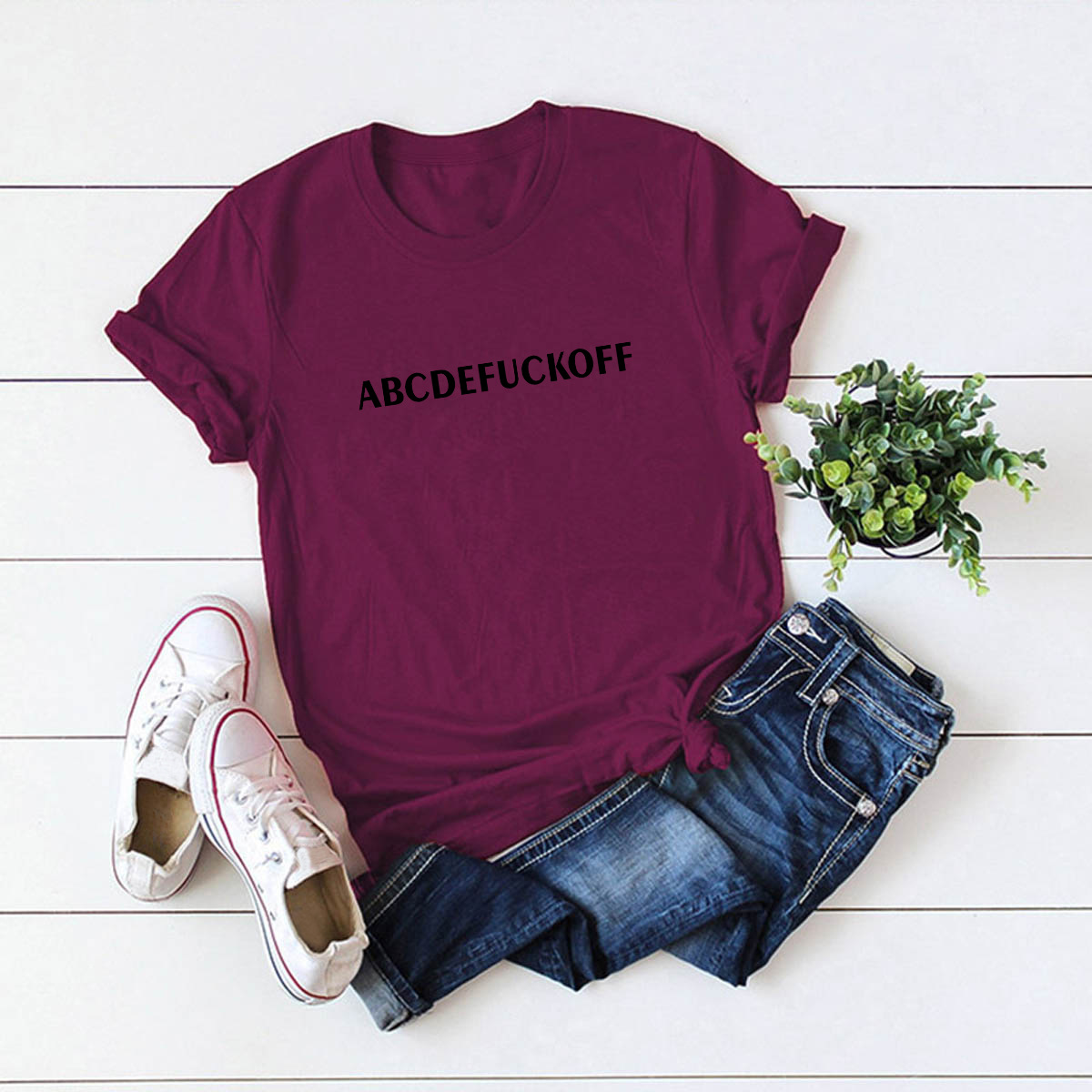 New Simple Spoof Letter Fuck Off Cotton Short Sleeve Women's T-Shirt NHSN206422