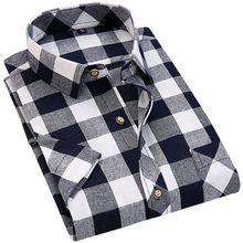 2019新款男式格子短袖衬衫 男式韩版修身休闲短袖衬衣厂家直销