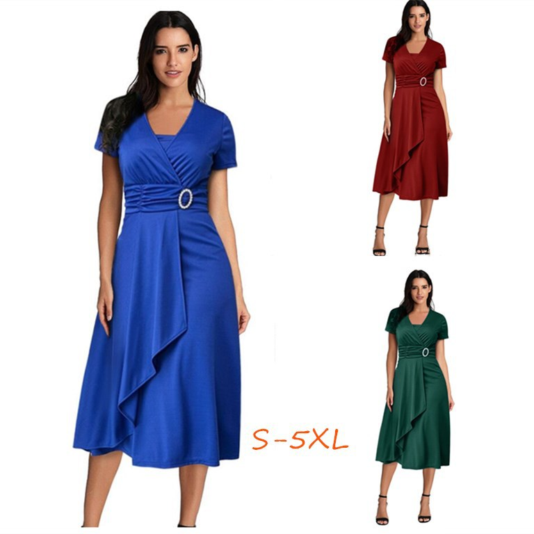 eBay速卖通夏季性感不对称大摆V领女装高腰中长连衣裙纯色晚礼服