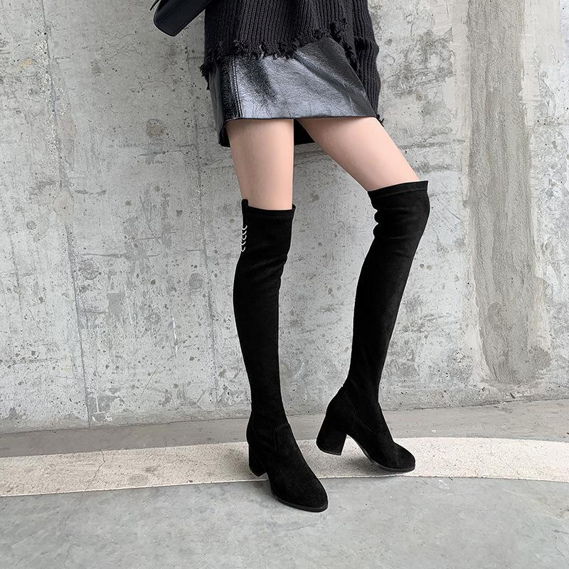 欧美大码时装靴2019秋冬新品羊京绒粗跟过膝长筒靴33-43跨境女鞋