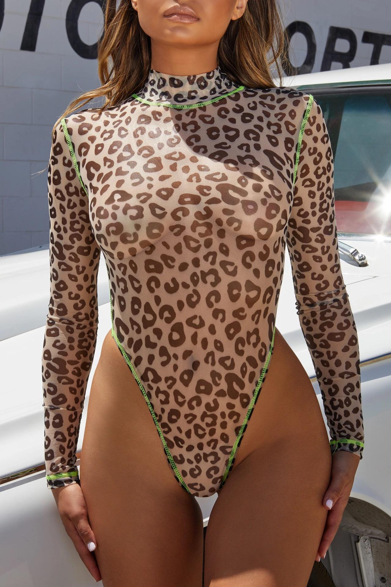 New onepiece swimsuit ladies printed longsleeved onepiece swimsuit sexy mesh bikini NHHL197686