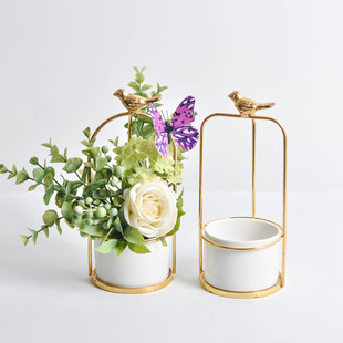 Nordic INS iron flower pot electroplating succulent potted flower stand, home hotel decoration ornaments ceramic hydroponic vase