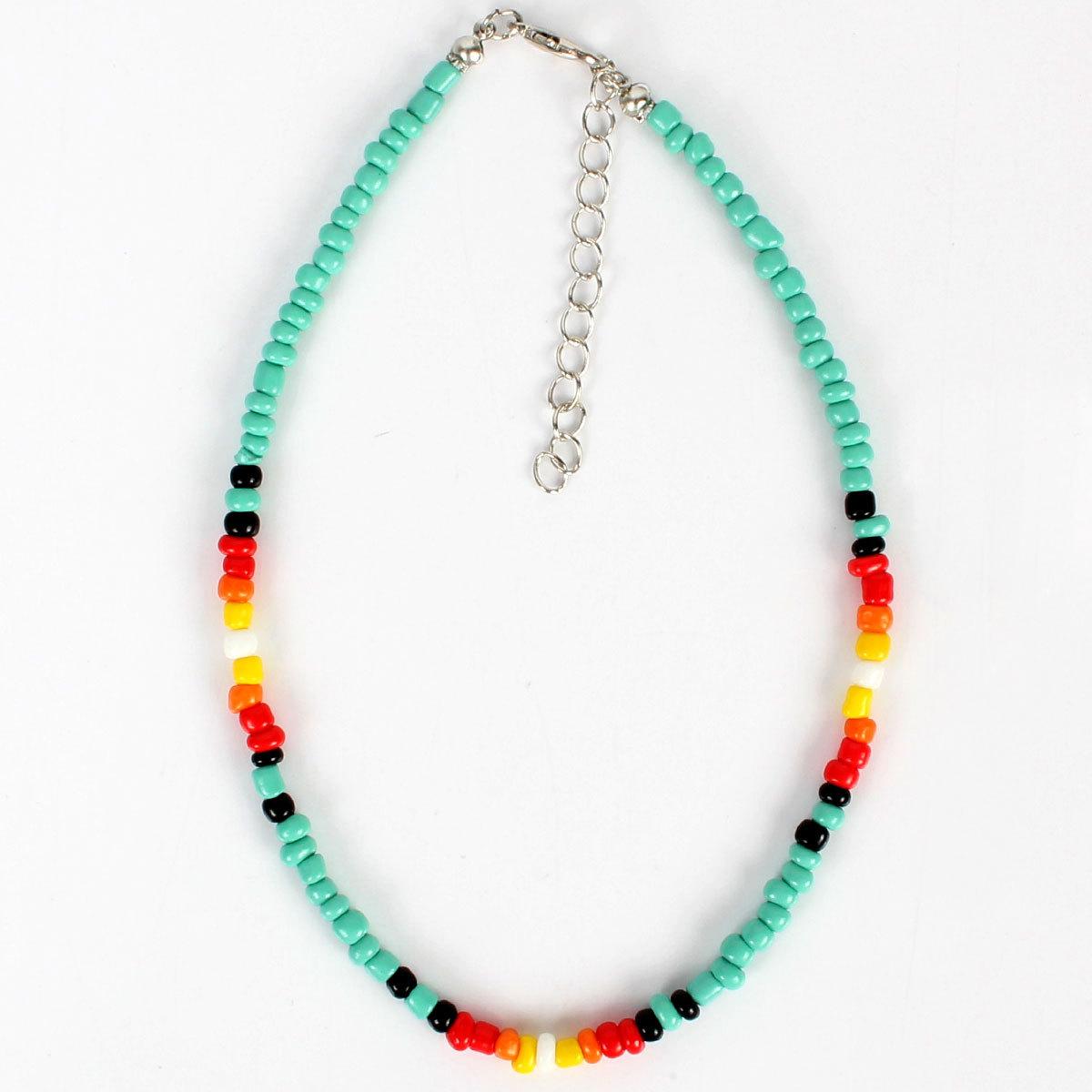 Bohemian clavicle chain colored rice beads handmade choker NHCT151233