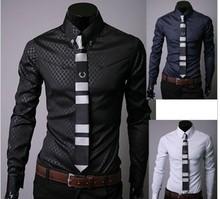韩版修身精品韩国进口面料暗纹菱格修身衬衣男士长袖衬衫5912