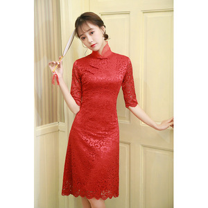 Chinese Dress Qipao for women Dinner dress red cheongsam skirt lace bud large cheongsam style dress for female adults
