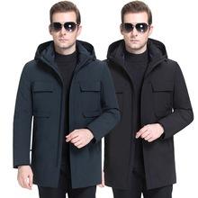 中年羽絨服男中長款2019新款韓版戶外工衣男裝加厚冬季白鴨絨外套