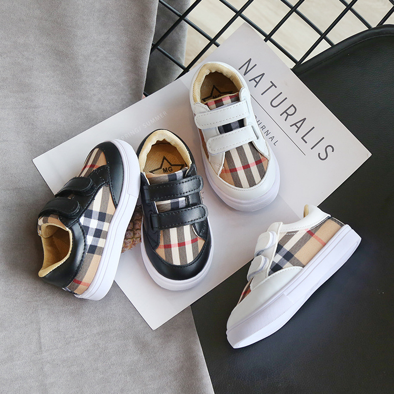 New Style Color Grid White Shoes Boys And Girls Shoes Fashion Sneakers Light Casual Shoes