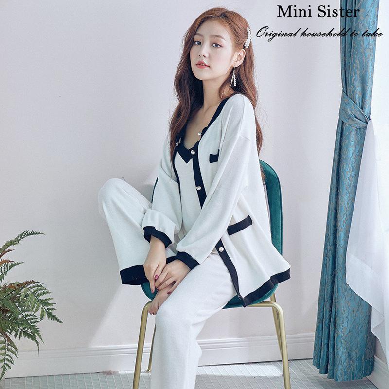 秋冬新款 韩版甜美优雅小香风纯棉长袖复古睡衣三件套家居服套装
