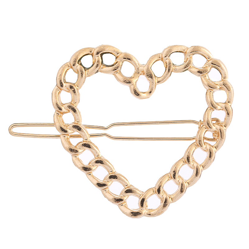 Hair accessories for girls Metal chain heart-shaped hollow hairpin clips folder wholesale NHHN179713