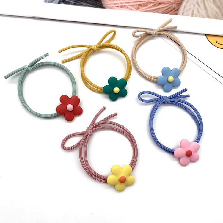 Korean new flower elastic hair rope cute ball meatball hair ring hair accessories NHSA201180