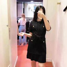 法單S家19秋冬新款 小香風粗毛呢百褶拼接裙擺短袖黑色連衣裙現貨