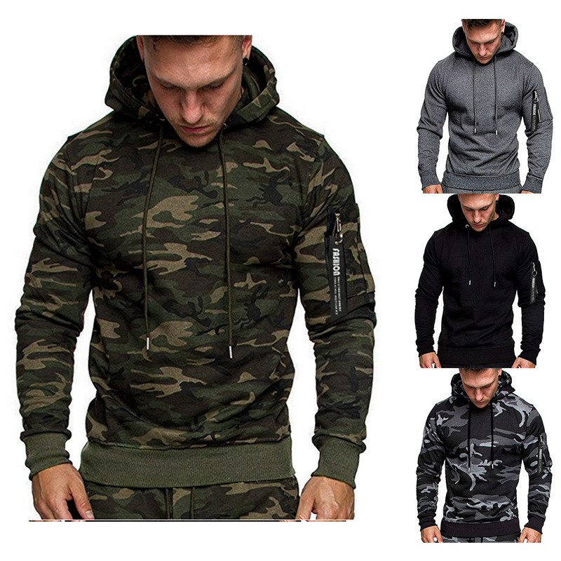 2019 foreign trade WISH Amazon autumn/winter new style men's fashion camouflage color casual long sleeve head men hoodie