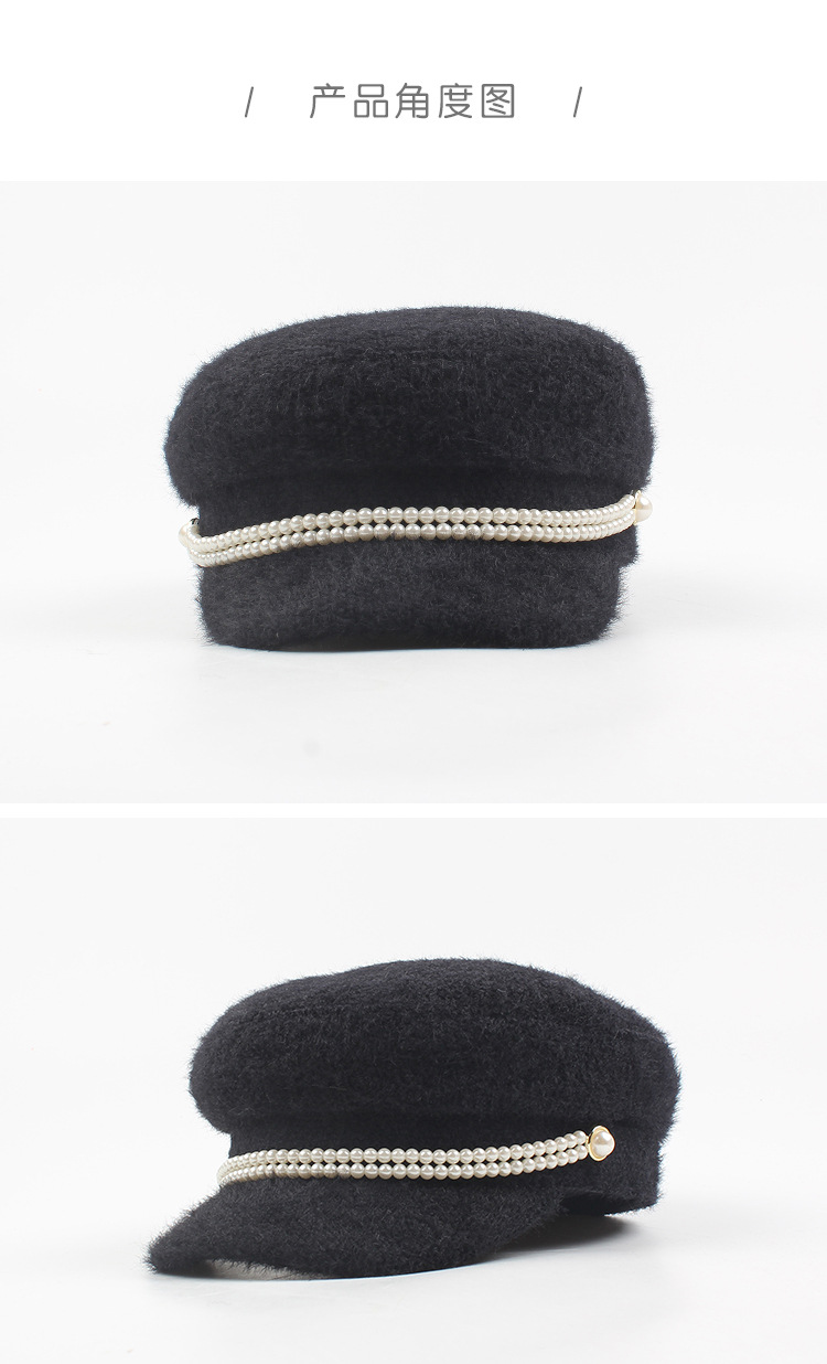 Korean version of the new pearl chain beret NHXO157691