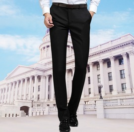 Direct supply for new men's high-end fabric Slim-free business professional dress small feet straight trousers