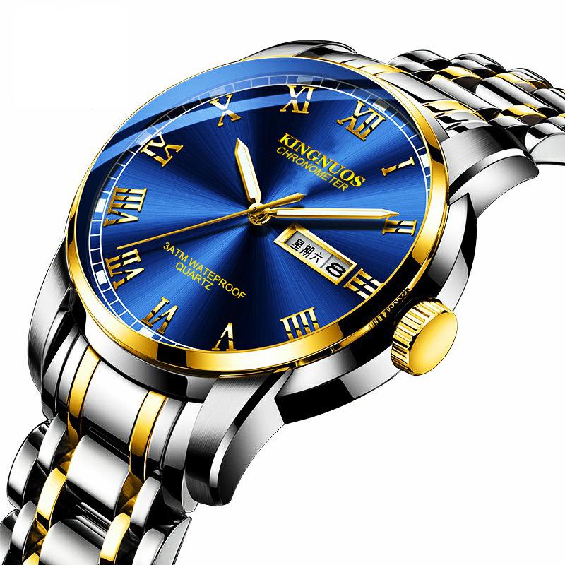 Genuine Fashion Automatic Quartz Non-mechanical Men's Watch Steel Belt Double Calendar Waterproof Luminous Watch Foreign Trade Models