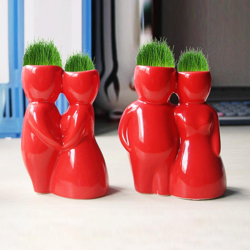 种植长草草娃娃青草栽培系列 红色恋魔草种植情人节礼物 礼品盆栽