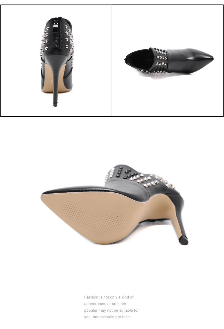 2020 new women's shoes European style sexy rivet pointed stiletto short boots NHSO182123