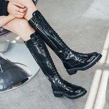 2019秋季真皮高靴女粗跟圆头长靴子前系带靴子高筒女靴子一件代发