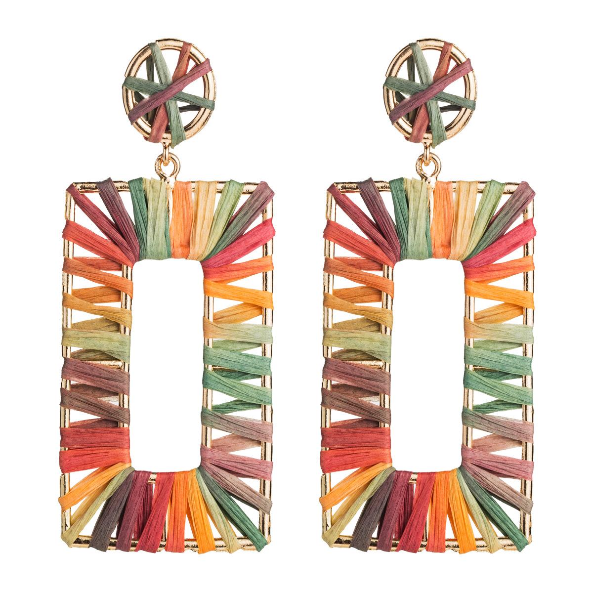 Fashion new alloy rectangular Raffia earrings NHJE144660