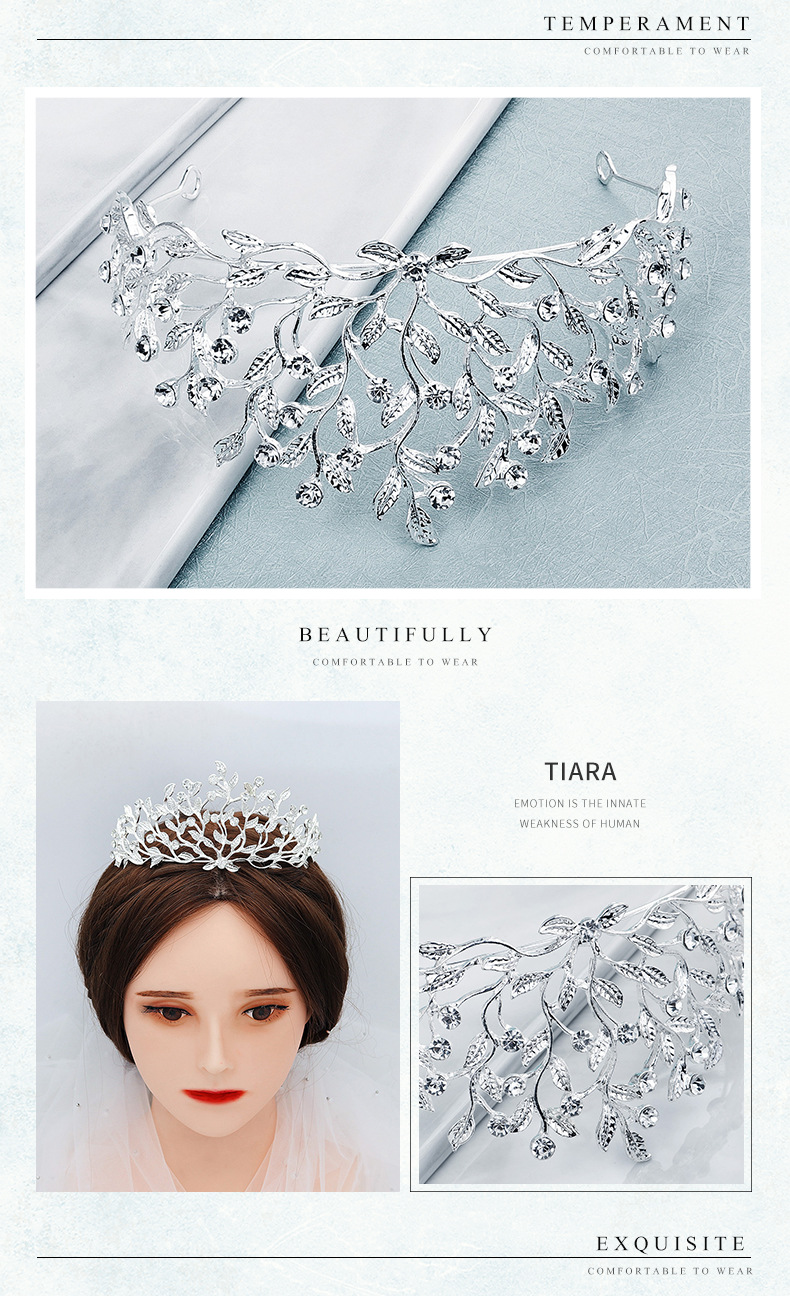 Korean wedding bride headdress olive branch alloy rhinestone wedding crown birthday party dress hair accessories NHHS229728