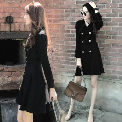 2019秋季新款大码女装日韩时尚洋气V领收腰显瘦小西装裙子