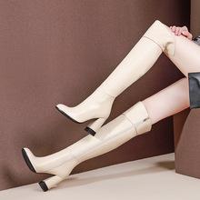 新款粗跟高跟高筒女靴真皮百搭性感过膝长靴女潮流欧洲站骑士靴子