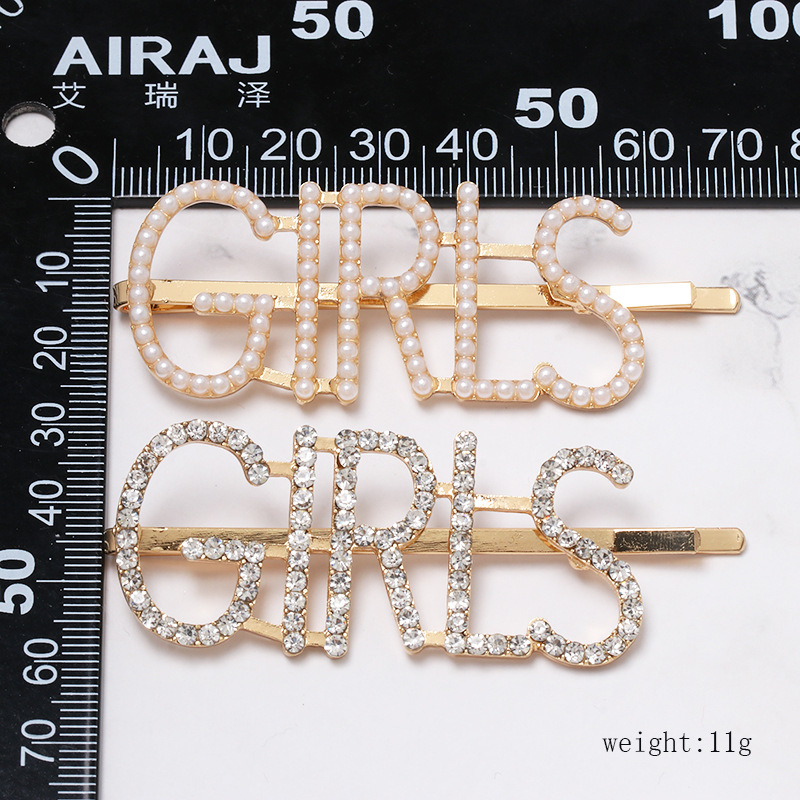 Womens Geometric Beads Capitalized English letters full of rhinestones Hair clip NHJJ121734