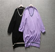 專柜下架金秋新款寬松休閑V領針織套衫羊毛衫中長款女毛衣