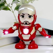 现货跳舞钢铁侠 抖音同款复仇者连盟4机器人 Q版手办模型电动玩具
