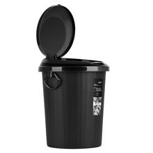 按压式垃圾桶家用带盖塑料筒饭馆餐厅大容量黑色客厅加厚圆桶形新