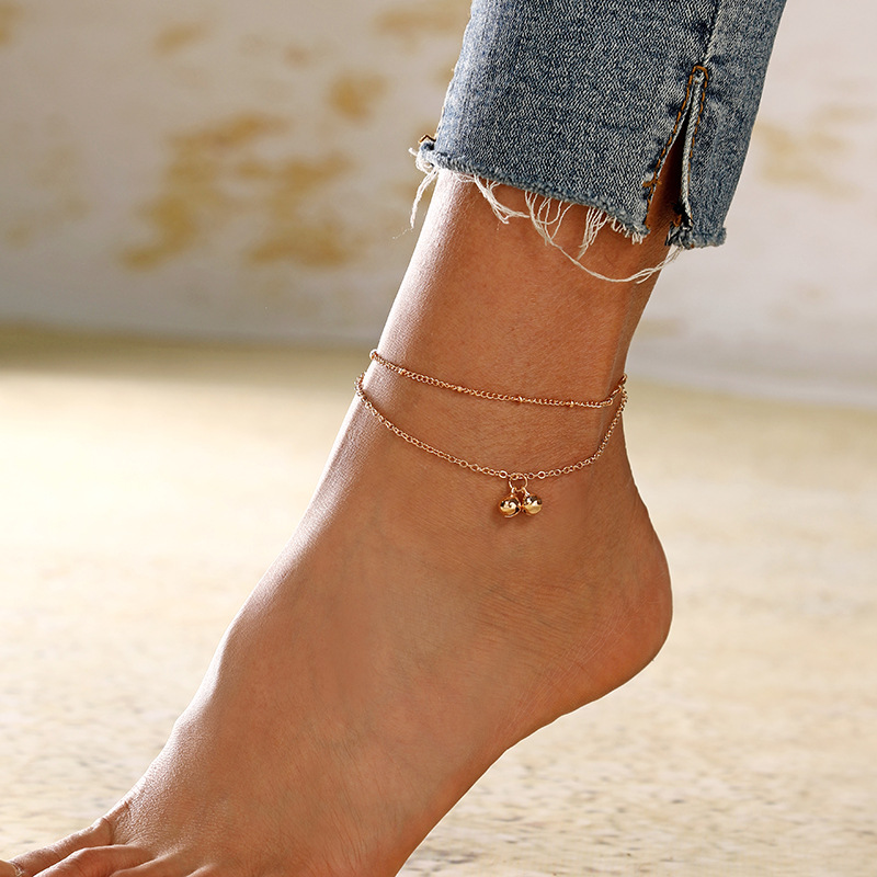 new fashion retro double tassel bell pendant alloy anklet set for women NHXI243649
