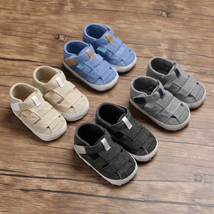 Summer 0-1 year old foreign trade toddler shoes canvas sandals soft sole baby shoes baby shoes