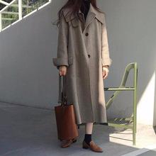 2019年韩版女装秋冬新款羊绒大衣韩版宽松大领子双面手缝毛呢外套