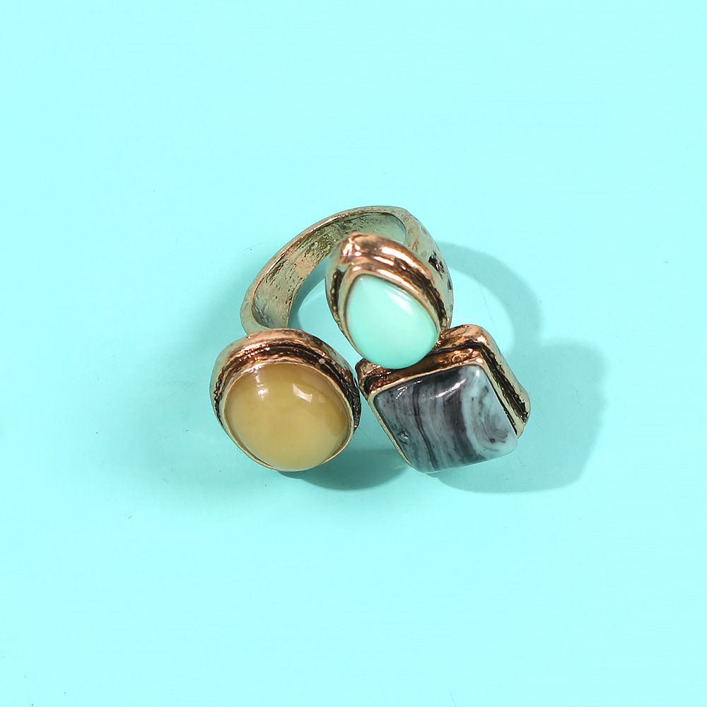 Vintage golden ring made old carved oval ring fashion wild ring combination NHMD185003