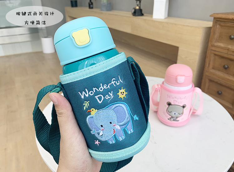 Cute pet animal cartoon children stainless steel insulated cup baby outdoor strap dual-use cup anti-fall and leak-proof cup NHtn205396