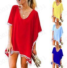 欧美速卖通雪纺?#21487;?#27969;苏毛球沙滩裙 宽松比基尼罩衫防晒衣女装