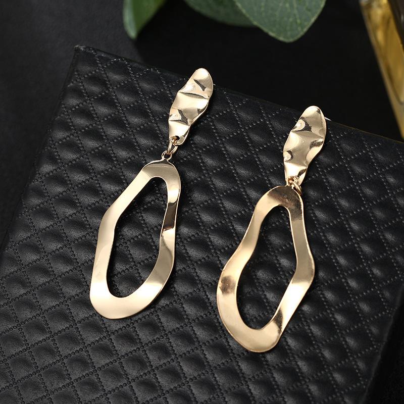 Simple earring alloy geometric irregular hollow stud earring trend new earrings NHPF196131