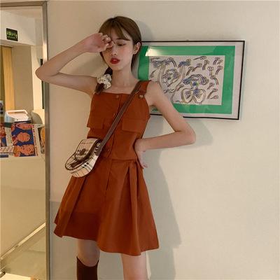 【与恩君8784】小众俏皮减龄显瘦吊带两件套装无袖上衣+半身短裙