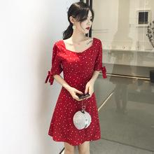 2019夏季新款复古红色收腰显瘦短袖波点雪纺连衣裙女 一件代发